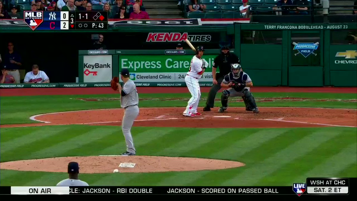 A throwing error by @TheJudge44 gives the @Indians a 3-0 lead. #MLBNShowcase https://t.co/PG4yKOz9vU