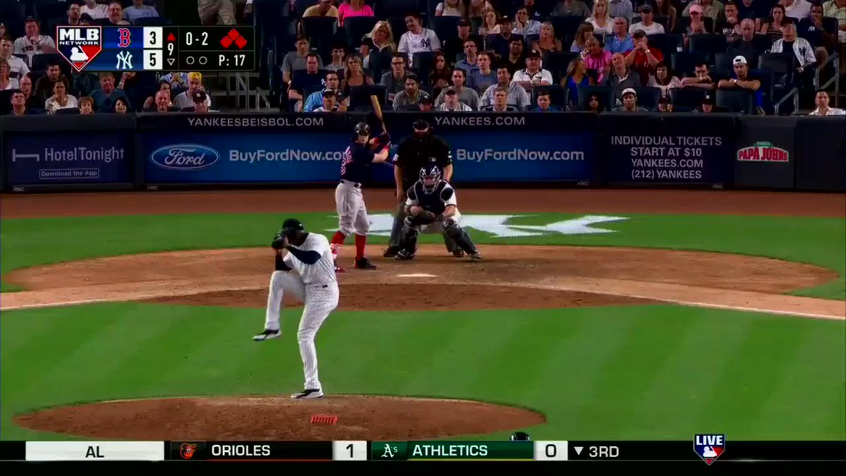 This @AaronHicks31 throw though!  @Yankees win tonight's #MLBNShowcase, 5-3. #MLBTonight starts right now! https://t.co/AmNgc21vTO