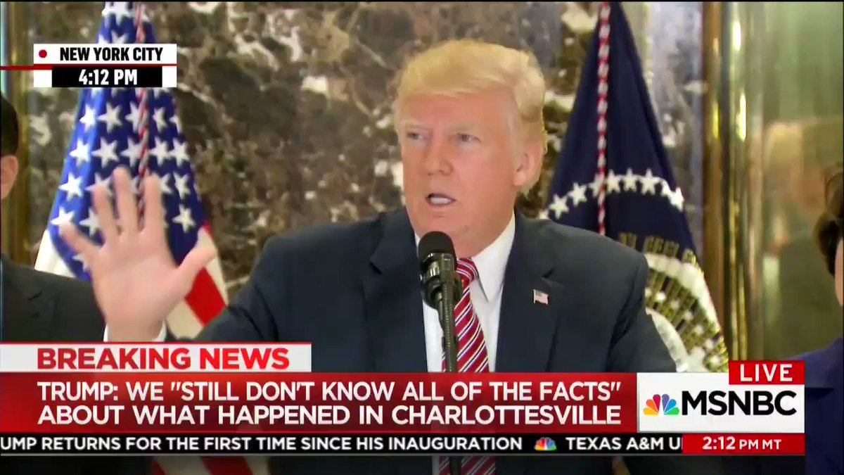 Trump on Charlottesville: 'What about the alt-left that came charging... with clubs in their hands, swinging clubs?' https://t.co/NgBa9FiPGq