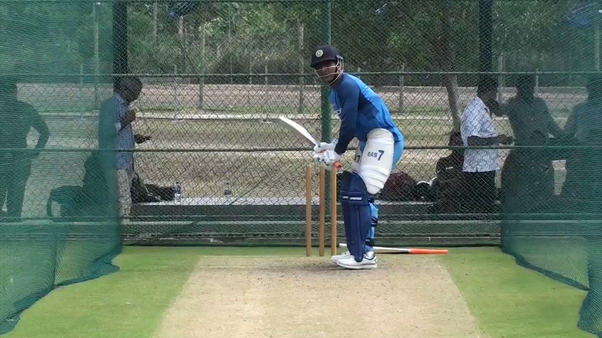 RT @BCCI: The cut, leave, drive, slog, upper cut, pull - @msdhoni batting session #SLvIND https://t.co/Q8flfP8wv4