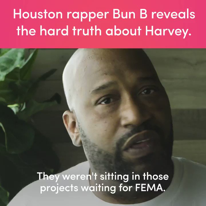 It's sad to see that the average man got to people before federal organizations stepped in -- Bun B #HurricaneHarvey https://t.co/5HbBvIIbER