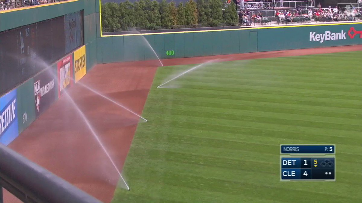 Can't cool off the @Indians – even when the sprinklers at Progressive Field accidentally go off during the game! https://t.co/lH2jnQp4to