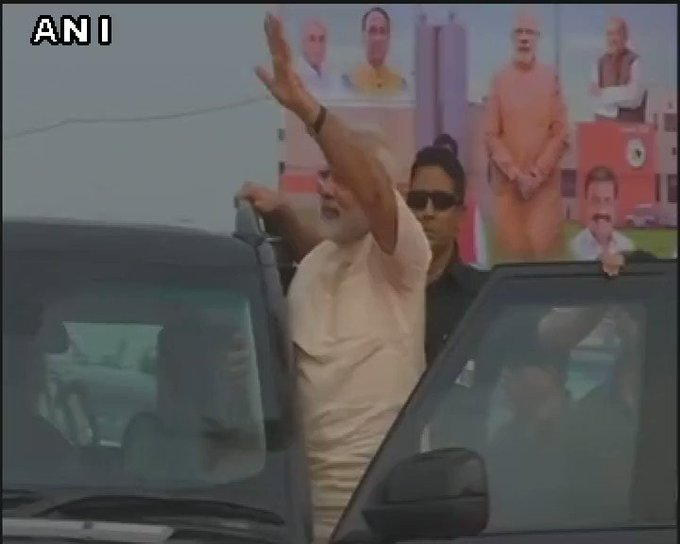 Prime Minister Narendra Modi waves as crowd in Amreli wishes him Happy Birthday