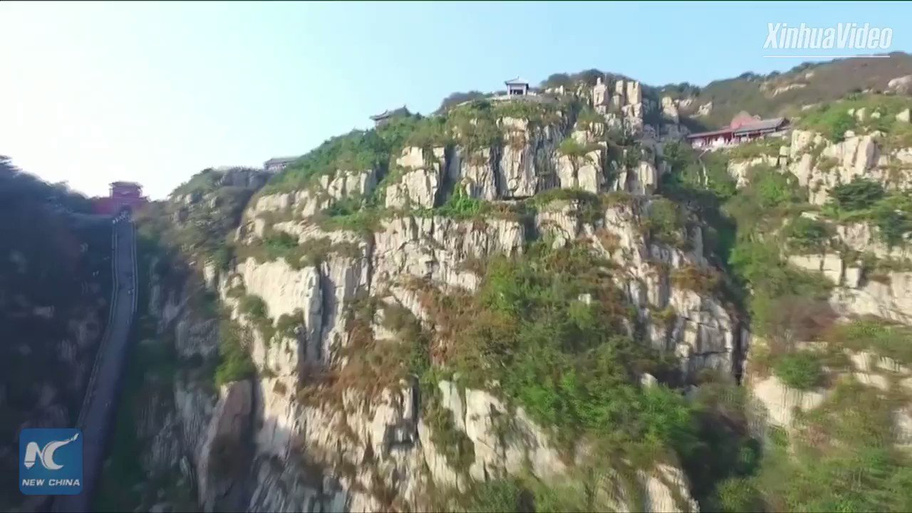 Aerial view of Shibapan, most precipitous path on Mount Tai. The sacred mountain in E China has been a place of worship for 3,000 years https://t.co/3OXcqcqz6M