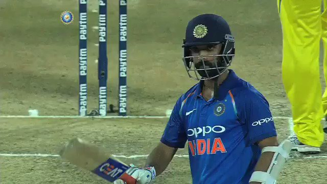 .@ajinkyarahane88 celebrates as he brings up his Fifty. This is his 21st in ODIs #INDvAUS