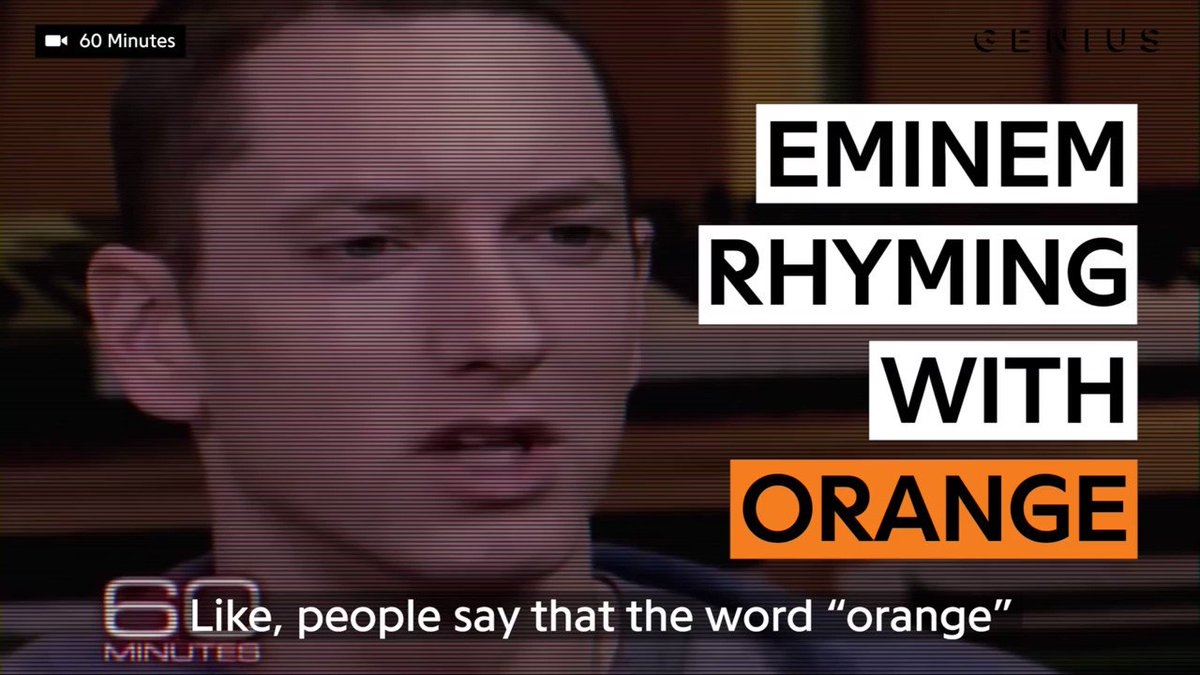 """i can think of a lot of things that rhyme with 'orange'"" —@eminem �� https://t.co/royFd3CT5N"