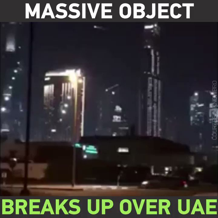 #Meteorite or satellite? Watch a MASSIVE object break up in the night sky over #Dubai