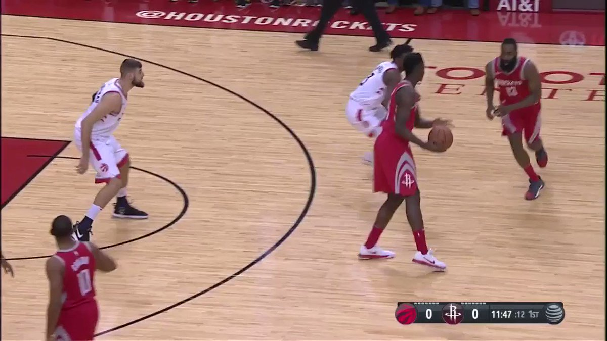 Athreeza starts things off!  Watch @HoustonRockets x @Raptors on @NBATV! https://t.co/sbgCht4rbM