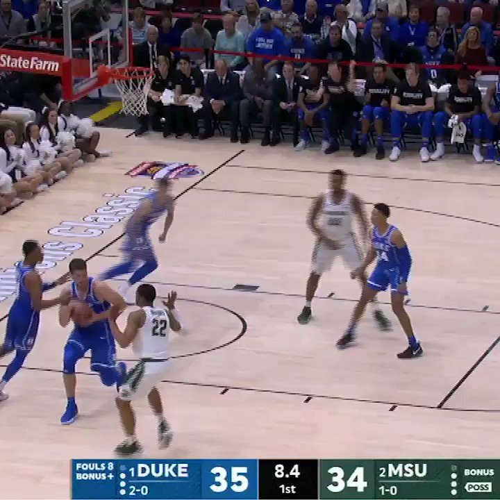 Grayson Allen from about 7 feet behind the arc.  No. 1 and No. 2 in a tight one on ESPN and the ESPN App. https://t.co/sr0qcJbfEu