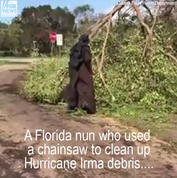 'Chainsaw nun' who helped Hurricane Irma cleanup honored by @MiamiHeat https://t.co/kaFjpaBEUJ https://t.co/f3kwgl1O8a