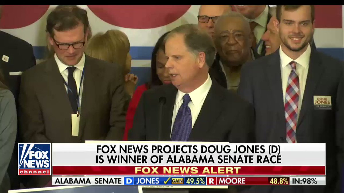 """Doug Jones: """"At the end of the day, this entire race has been about dignity and respect."""" #AlabamaSenateElection https://t.co/69rh78pAvN"""