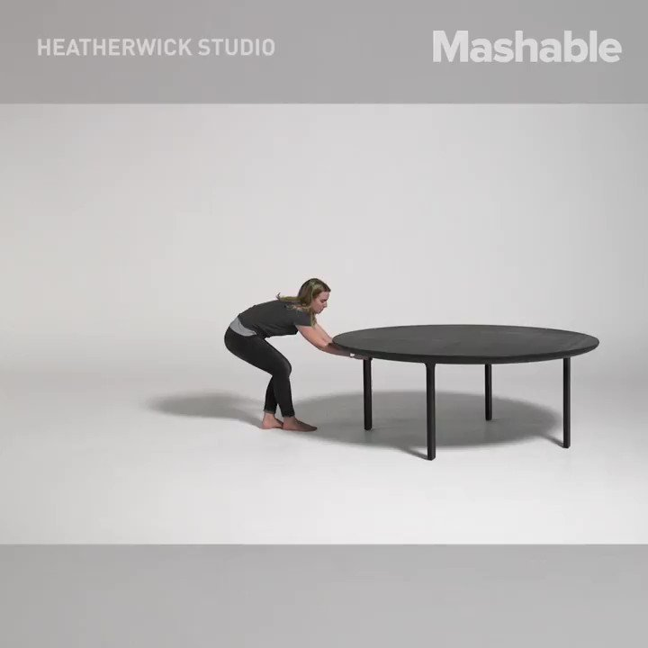 Someone designed an accordion-like table that unfolds to double its length https://t.co/Vh02BUKhY0