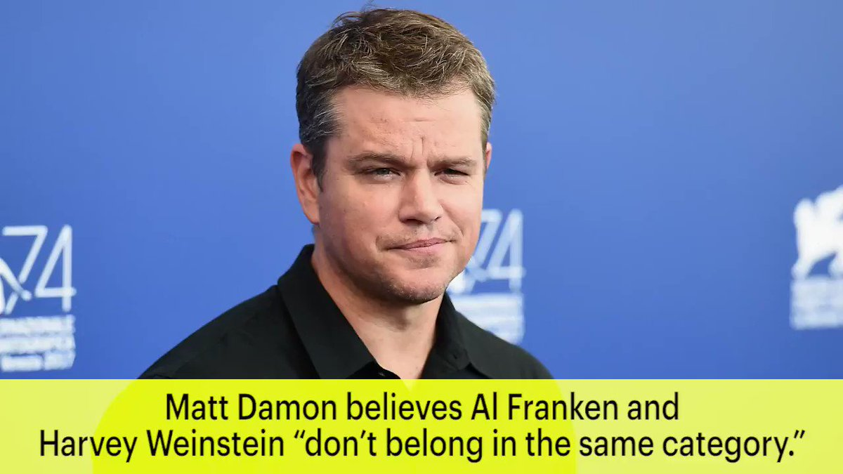 "Matt Damon says Al Franken and Harvey Weinstein ""don't belong in the same category"""