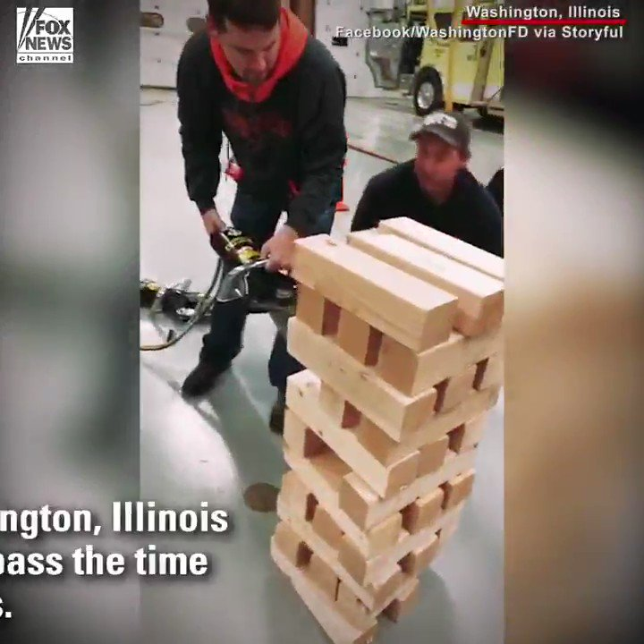 Jumbo Jenga: Firefighters in Washington, Illinois found a new way to pass the time between saving lives. https://t.co/NStguxn5CN