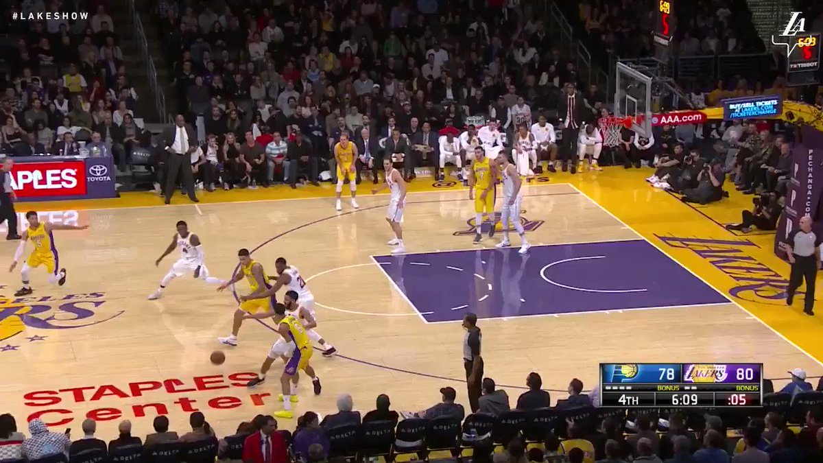 JC grabs the loose ball and goes up and under for the score #LakeShow (��: @SpectrumSN, @spectdeportes) https://t.co/wkp9ae5h9o
