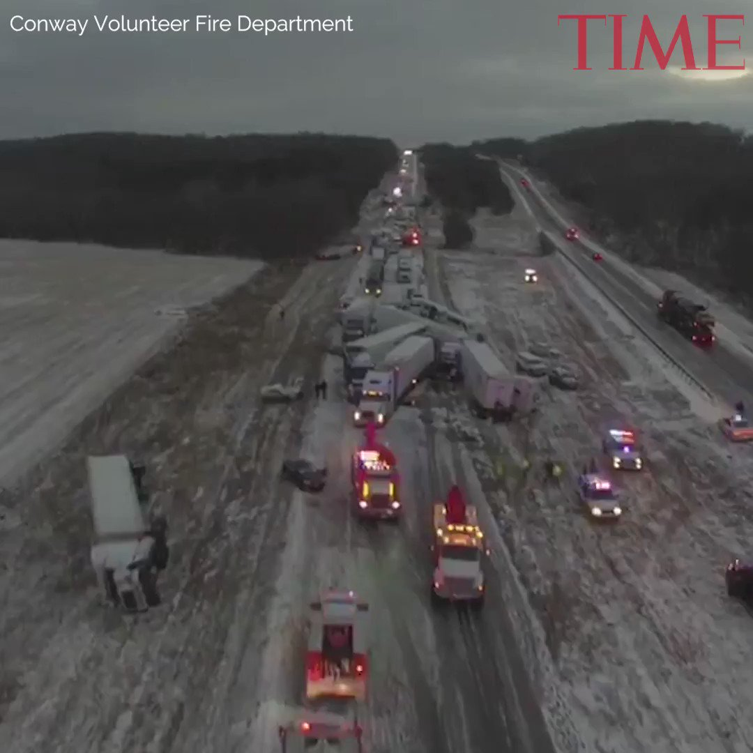 Drone captures 50-car pile-up on Missouri highway
