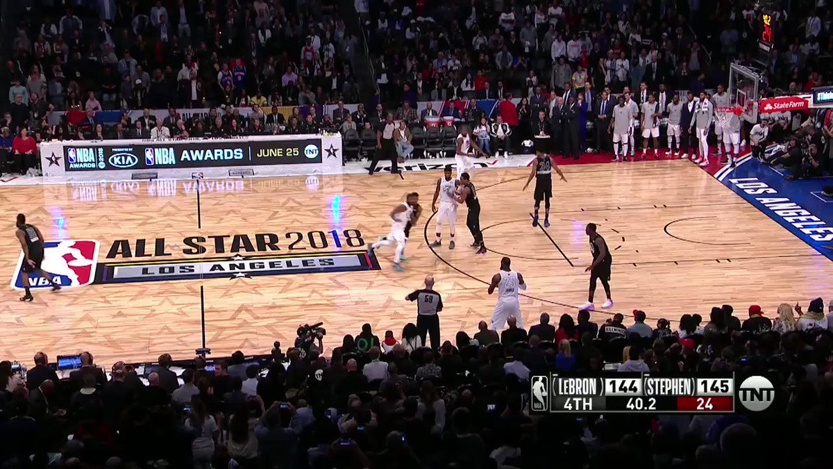 #TeamLeBron gets the late bucket and stop to win the 2018 #NBAAllStar Game! #NBABreakdown https://t.co/HQNUZUoALZ