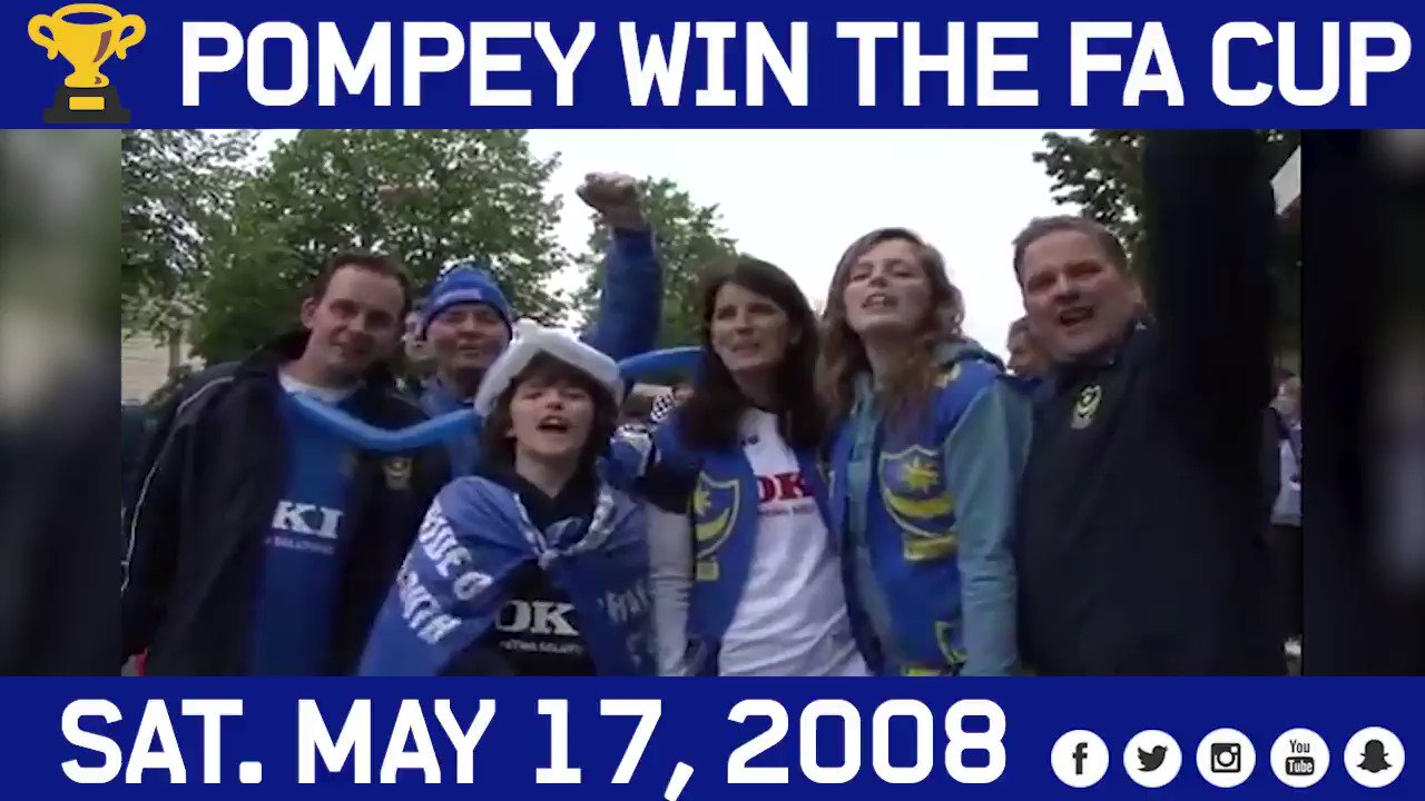🗓 ON THIS DAY: #Pompey lifted the FA Cup for the second time in the club's history in 2008, with Kanu netting the only goal of the game as the Blues overcame Cardiff 🏆  🏟 A decade on, the attendance of 89,974 that day remains a football record for the new Wembley Stadium 🙌 https://t.co/kfA368MoEO