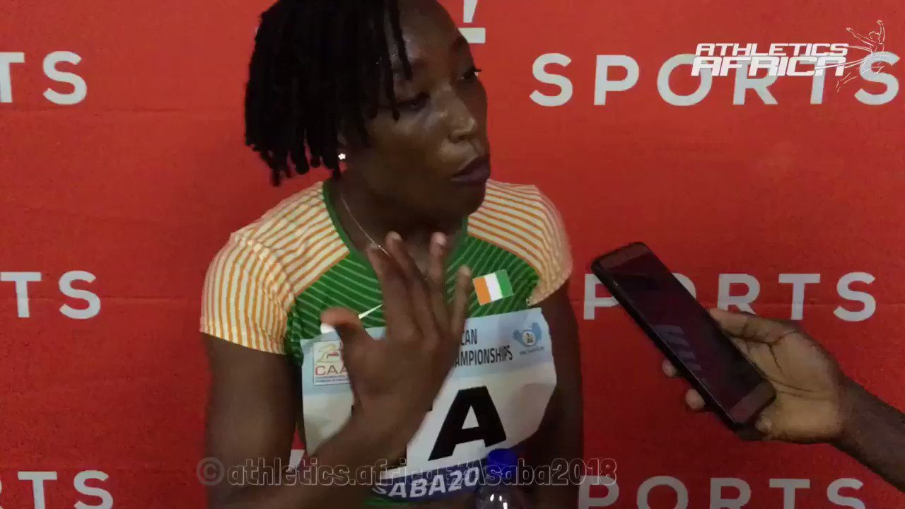 #CIV's @majo10s70 (MarieJosee Ta Lou) wins the first heat of the women's 100m in 11.25 secs.   #Ghana's Janet Amponsah was 2nd in 11,63 while #SouthAfrica's Cassidy Williamson was 3rd in 11.79 secs.  #Asaba2018 #AthleticsAfrica https://t.co/QFfAEaOZYi