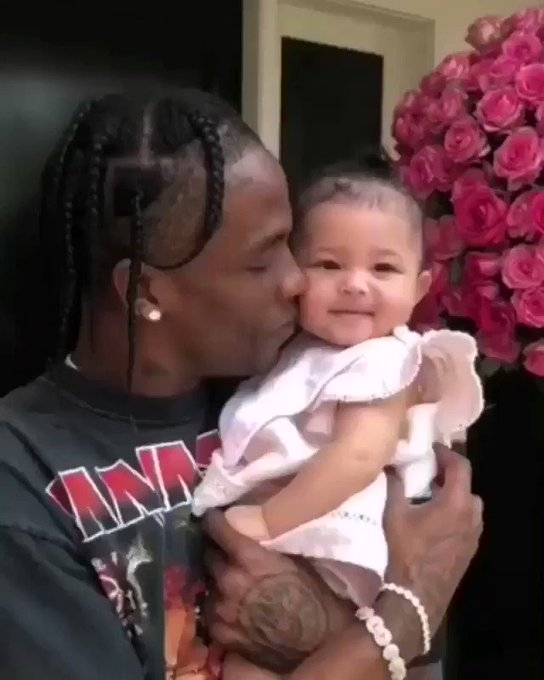 Travis Scott and baby Stormi wishing Kylie Jenner a happy birthday