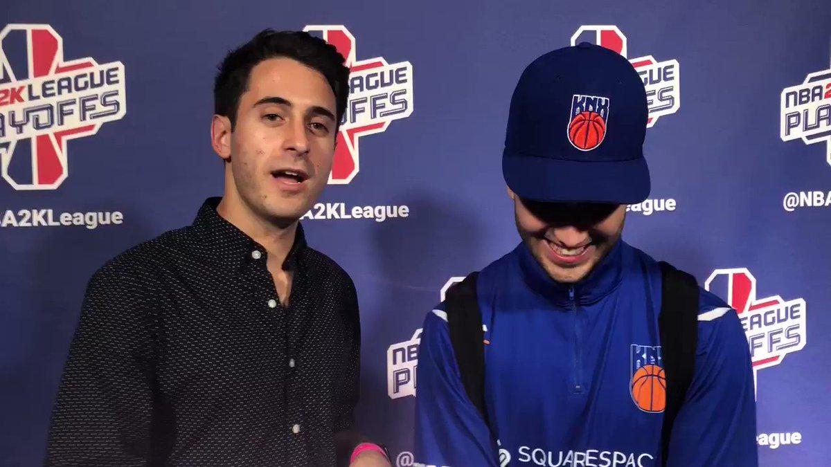 RT @NBA2KLeague: .@JeffEisenband talks to @iamadamthe1st after the @KnicksGaming upset Win! https://t.co/tRBqxaUgxB