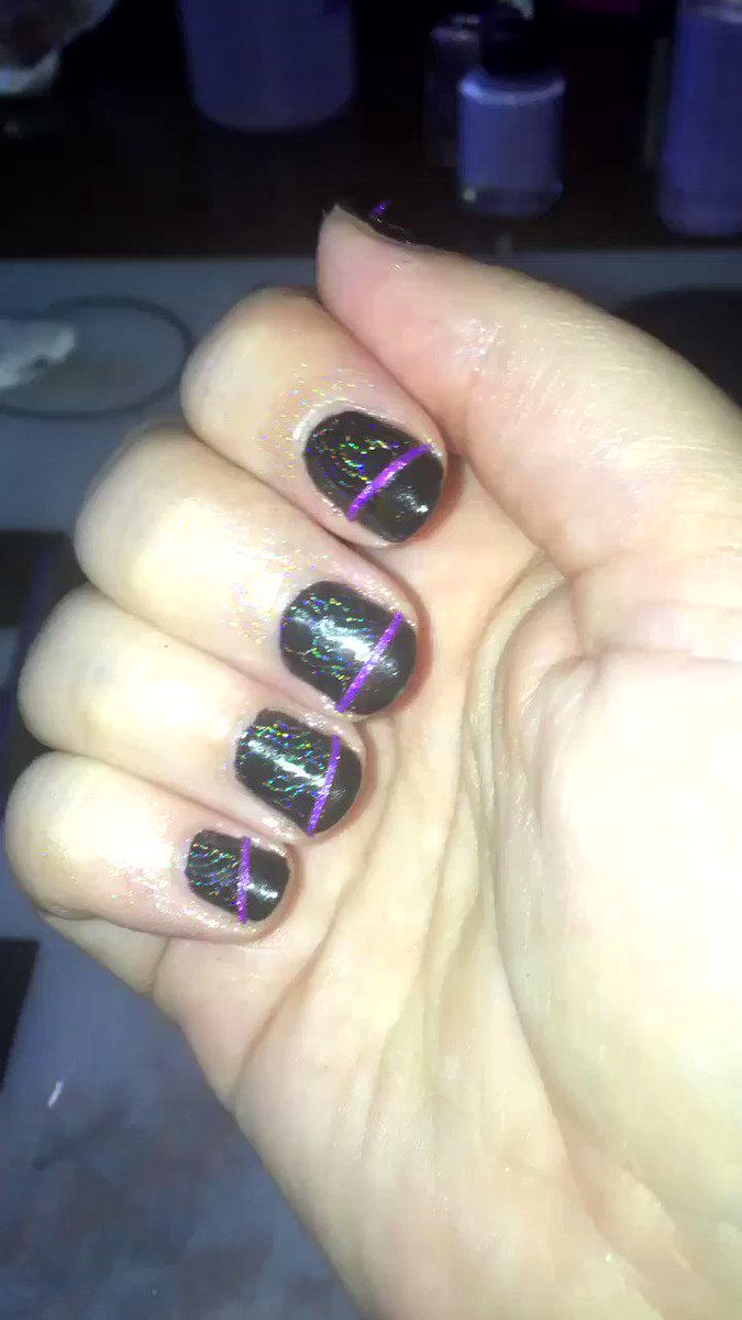 Nails done!! Holo stamping and glitter striping tape! PV7z8fAnx3