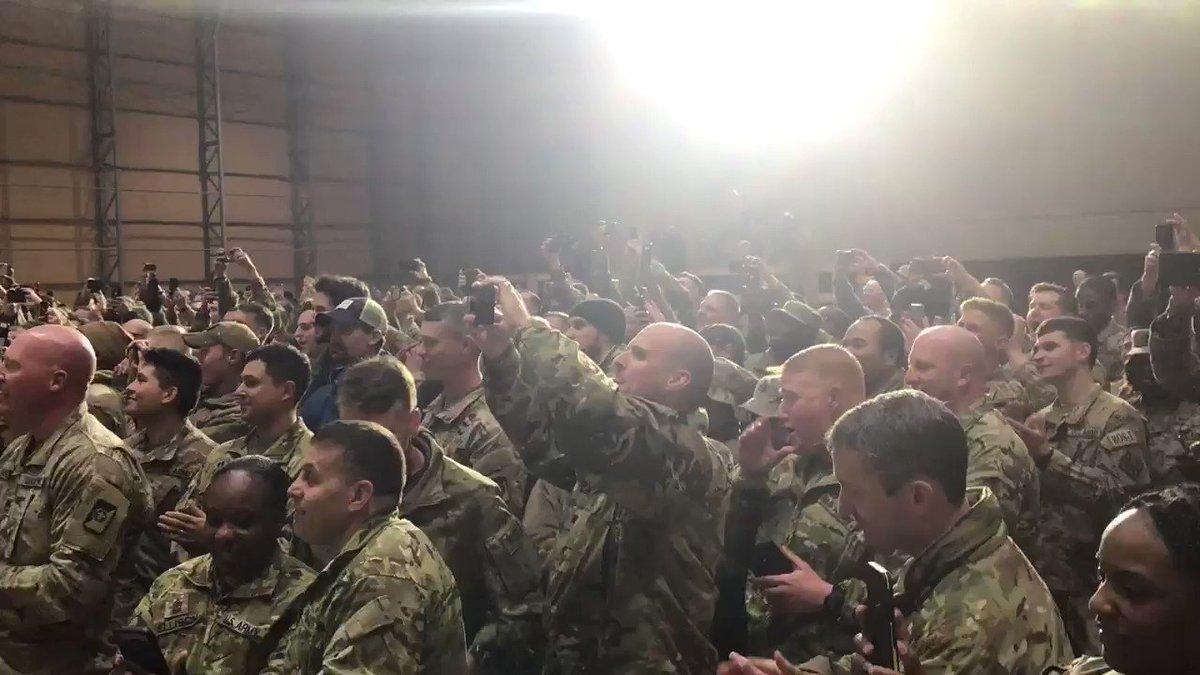 RT @PressSec: President @realDonaldTrump speaks to U.S. troops in Iraq. #TrumpTroopsVisit #USA https://t.co/9CSdO8AwWD