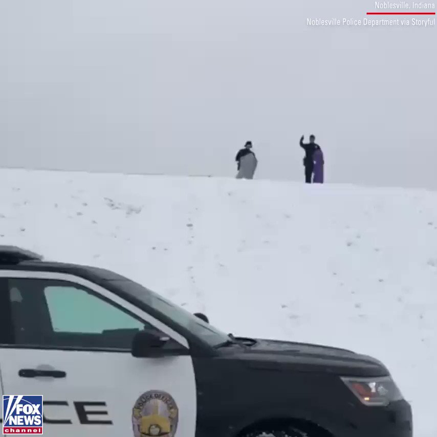 "Police in Noblesville, Indiana, say they received a call that children were sledding in a dangerous area — so they sent two officers to check it out.   They determined the kids were ""being safe and responsible."" But the officers took a test run, ""for safety reasons and stuff."""
