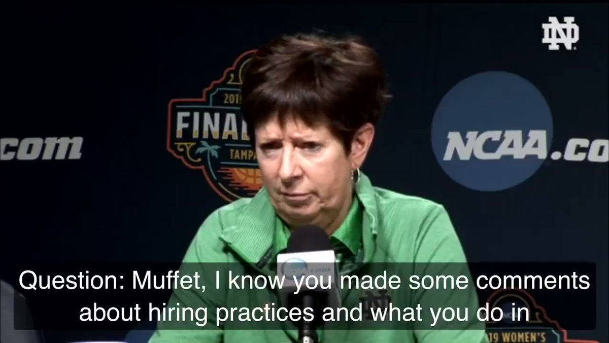 RT @ndwbb: Coach @MuffetMcGraw has always been about empowering women.  Today was no different.  #GoIrish https://t.co/yOiwwFBS65