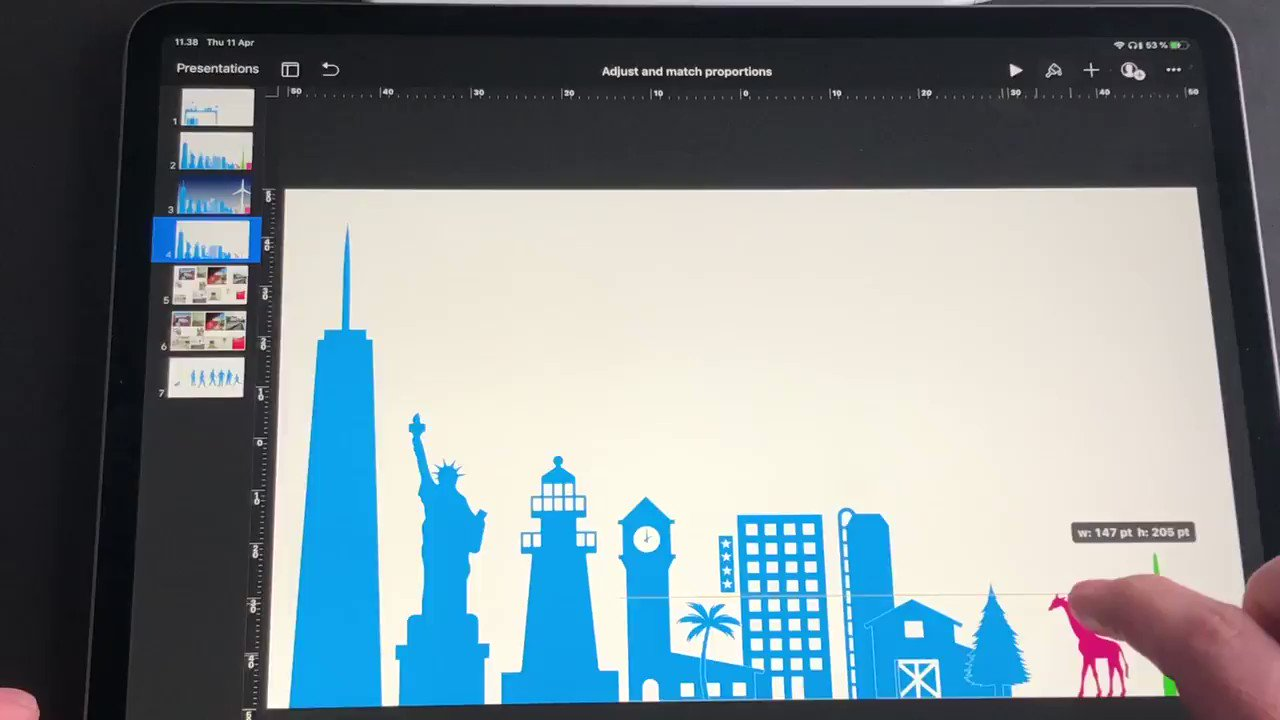 I need to share this mind blowing discovery!  ADJUSY & MATCH proportions of objects in Keynote by tapping 👇on the object that you want to match. This will add precision to your keynote work 🎯 and safe you 2 sec a day 😉  #EveryoneCanCreate #AppleEduChat #Keynotetrick I❤️Keynote https://t.co/0kskoAyzdi