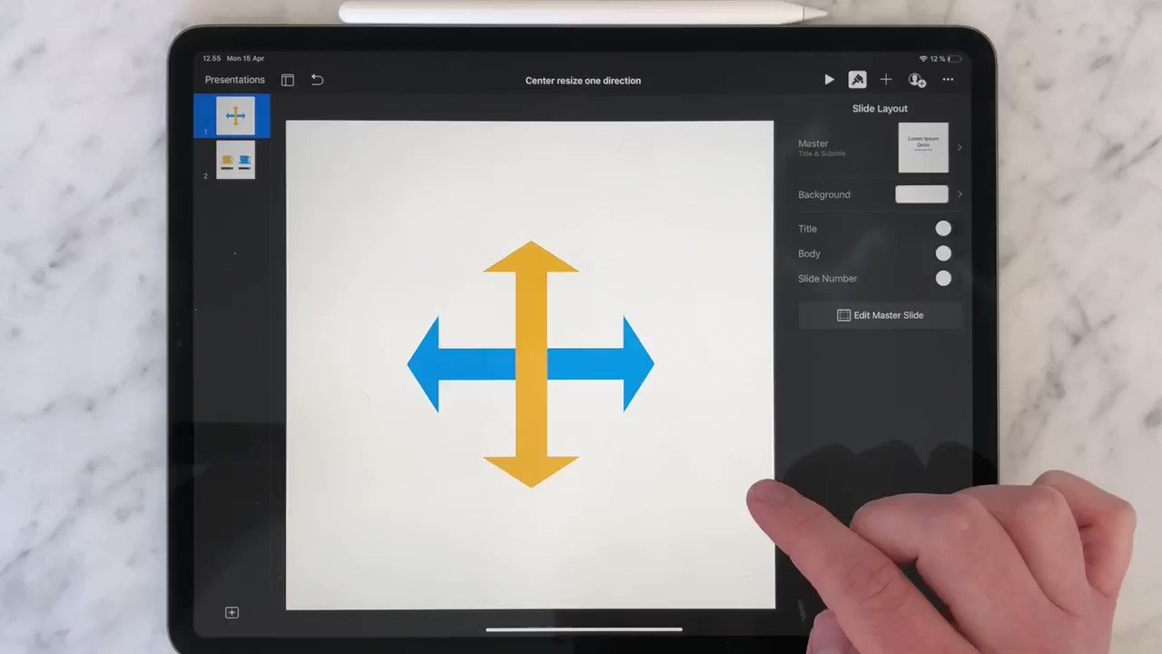 A short follow up on yesterday's video.   ↔️ You can also use center re-size in one direction at a time. ↕️  One more 🐣 Keynote Easter egg / Secret Apple Keynote tip is on its way. Always stay hungry... 😉  #EveryoneCanCreate @AppleEDU #AppleEDUchat #AppleKeynote #iWork https://t.co/butw5wul4w