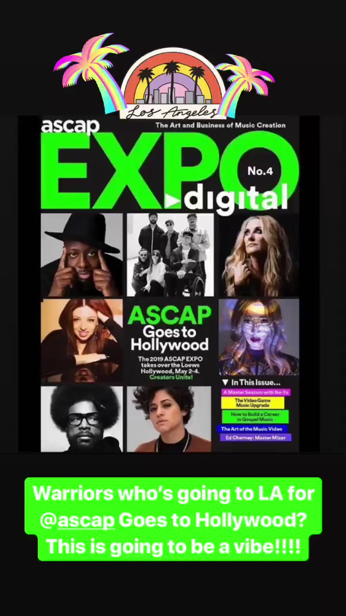 Can't wait to catch a vibe in LA with my warriors for @ASCAP May 2-4!!!!  Will you be there? ???????????????? https://t.co/WZtIHcC8uE