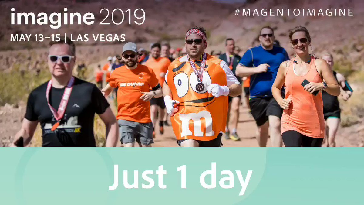 magento: ONE DAY until #MagentoImagine! See you out at the #BigDamRun and later today at #PreImagine.n#MagentoCommunity https://t.co/a6DCdJhyNw