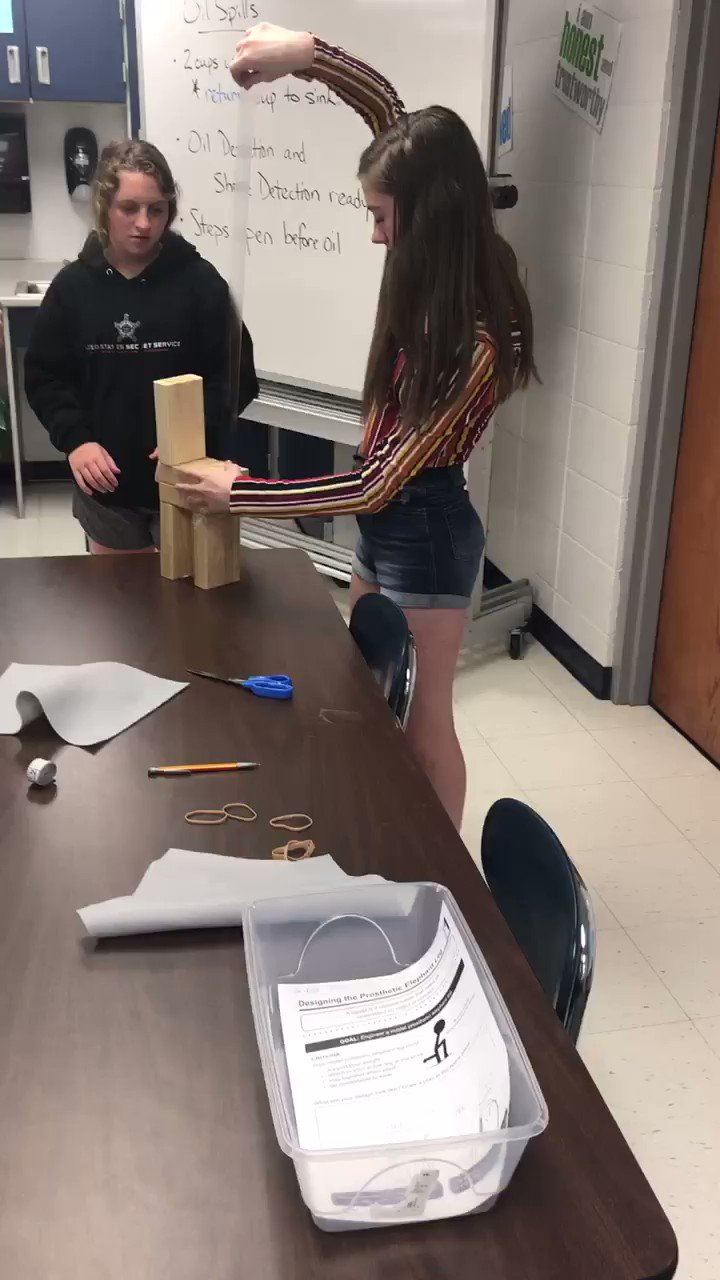 Engaged learners: a teacher's dream!  My 8th Grade STEM students designing a prosthetic leg for an elephant. SO much creativity and fun! (and engineering!)  #STEM #LoveThisJob #LCMSPTB https://t.co/KoGnWt5GzY