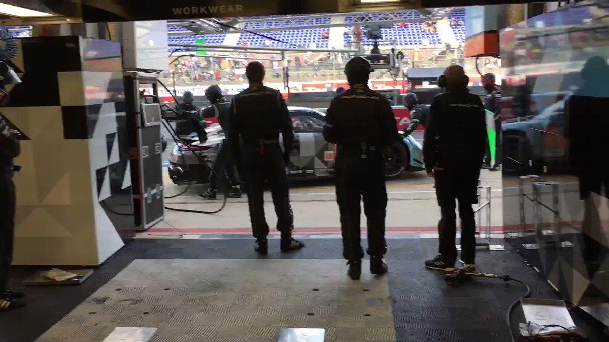 #LeMans24 - The No 77 #911RSR back into the @PatrickDempsey @ProtonRacing garage after the @24hoursoflemans warm-up. @Porsche @FIAWEC