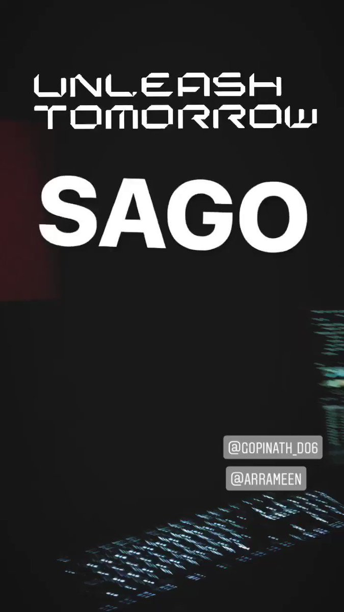 'SAGO' by @arrameen  and @arrahman dropping Tomo at 5pm.. last stage of post-production with @Gopinathd06...  #7UPMadrasGigS2