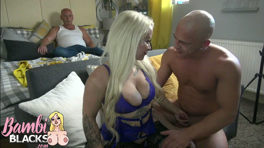 """4""""4 blonde pocket rocket takes on the uksbiggestspunker while hubby watches go to my website  to see the full 20 min video"""