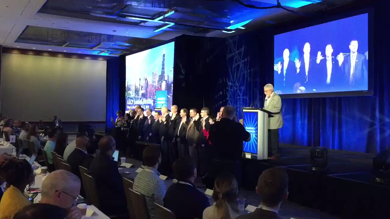 Immediate Past President @sascottrx swears in the new Board of Directors at the #PharmEd19 Final House of Delegate Session. https://t.co/WU7KSOrpt6