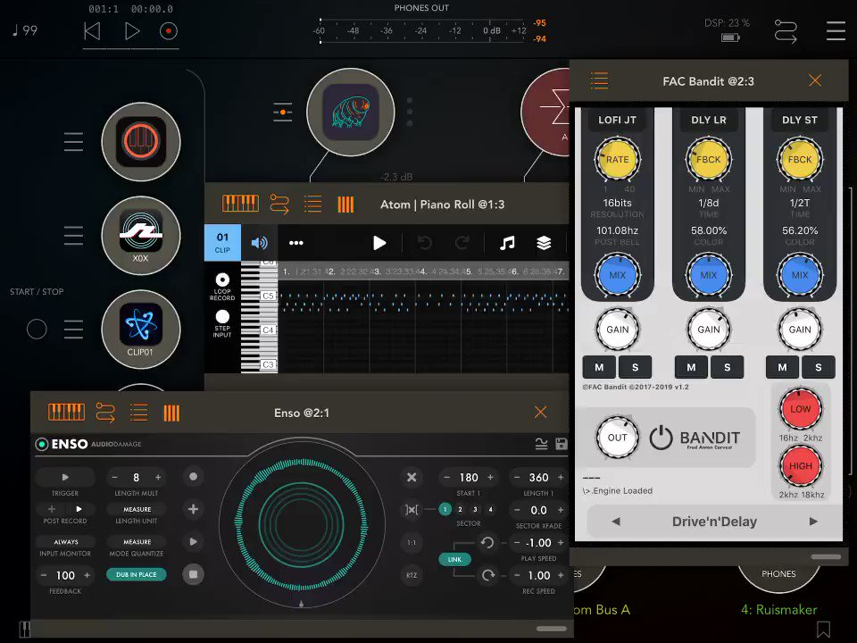 Late night fun with #AUM by @j_liljedahl, #Ruismaker and #Rozeta by @bram_bos, #Enso and many more by @audiodamage, #Tardigrain by @humbleTUNE, #Zeeon by @beepstreet, #KB1 by @numericalaudio and #AtomPianoRoll . . #iOSmusicking #mobilemusic https://t.co/pXhpp8jkIR