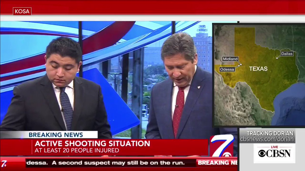 This is the exact moment when - while they were reporting LIVE ON AIR - the team at @CBS7News was evacuated due to a threat of an active shooter in the mall.  They kept broadcasting via audio from the parking lot.  #Odessashooting #TexasShooting #Odessa