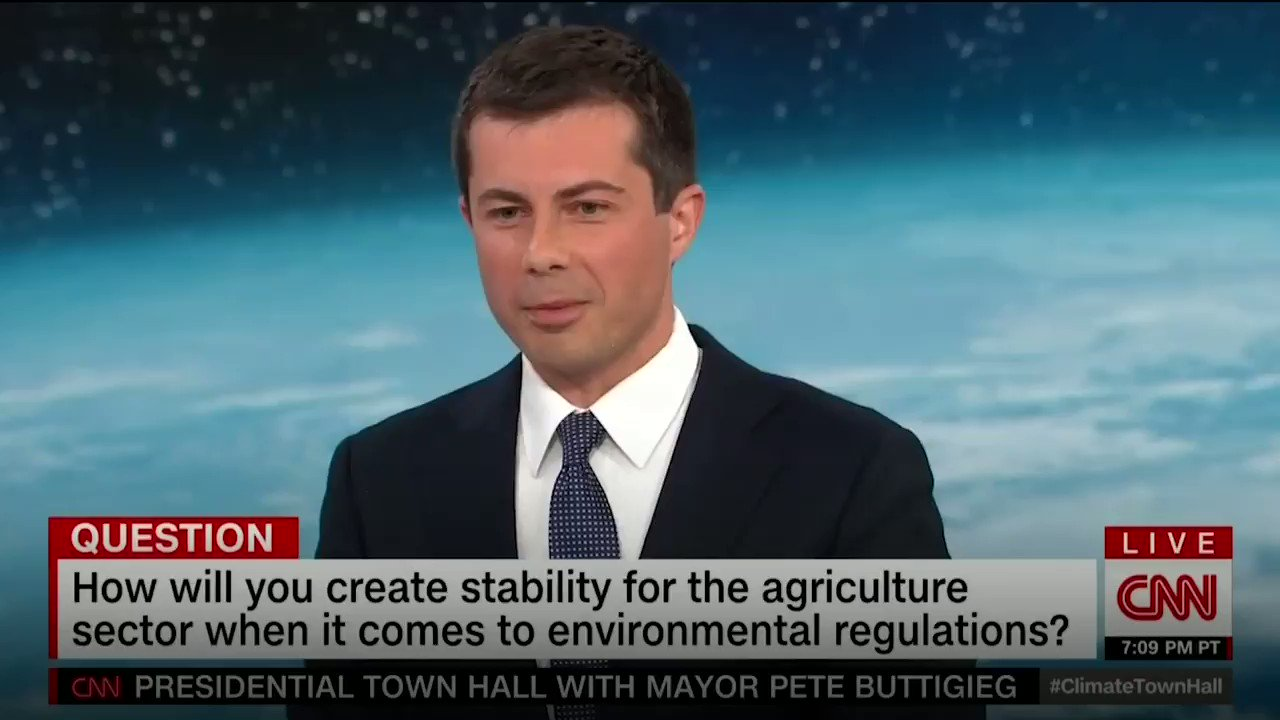 """""""Imagine what it would mean if a net-zero emissions cattle farm were as big a symbol of American achievement in fighting the climate crisis as an electric vehicle. We'd be so proud of it."""" —@PeteButtigieg #ClimateTownHall https://t.co/CvZ46QU10O"""