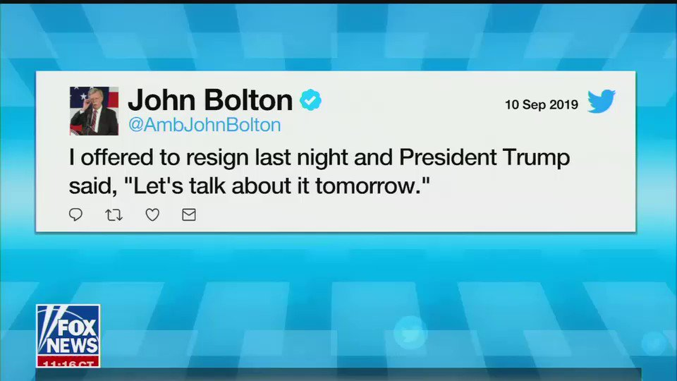 """BOLTON IS TEXTING FOX HOSTS WHO ARE ON AIR TO DISPUTE TRUMP'S ACCOUNT OF HIS FIRING  Kilmeade: """"John Bolton just texted me, just now, he's watching. He said, 'let's be clear, I resigned.'"""" https://t.co/2zg8tPTf6L"""