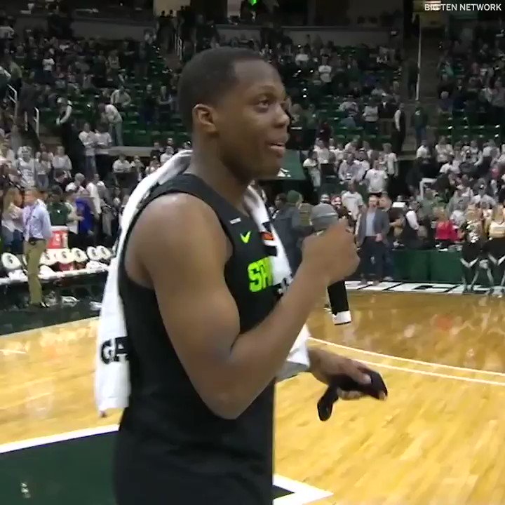 """""""It's been a really tough time for me and my family ... I lost a piece of my heart, but you guys keep me going.""""  Cassius Winston thanks the MSU crowd for the first time since his brother's death 🙏"""