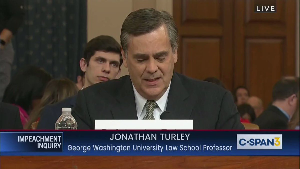 """Jonathan Turley:  """"This would be the first impeachment in history where there would be considerable debate and in my view not compelling evidence of the commission of a crime.""""  ...  """"This is a facially incomplete and inadequate record in order to impeach a president."""""""