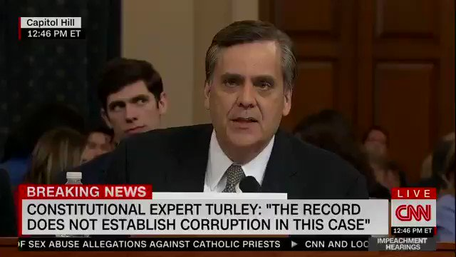 "Jonathan Turley, not a Trump supporter, looks at Democrats and delivers one of the most powerful quotes of the hearing so far:  ""If you make a high crime and misdemeanor out of going to the courts, it is an abuse of power. It's YOUR abuse of power."""