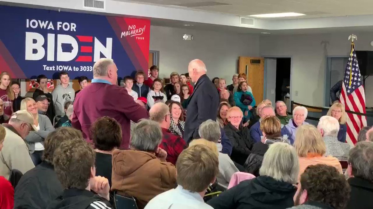 "An Iowa voter accuses former VP Joe Biden of sending his son Hunter to Ukraine to work for Burisma.   Biden responds to the allegation by calling the man a ""damn liar"" and challenging him to a push up contest."