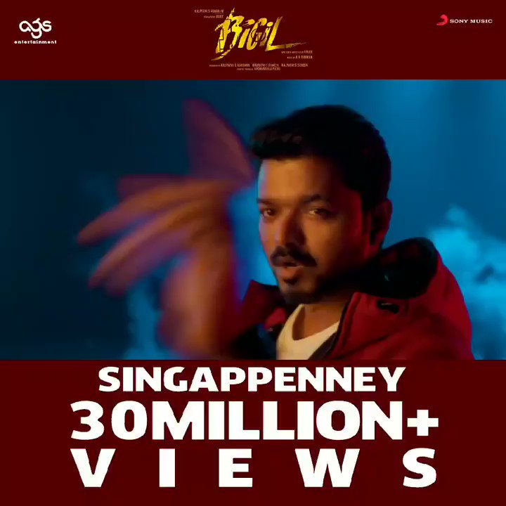 Winning hearts alike!♥️  Our #Singappenney soaring high with each passing day! 👑  #SingappenneyHits30M  ➡️   @actorvijay @Atlee_dir @arrahman @archanakalpathi @Ags_production @Lyricist_Vivek #Nayanthara
