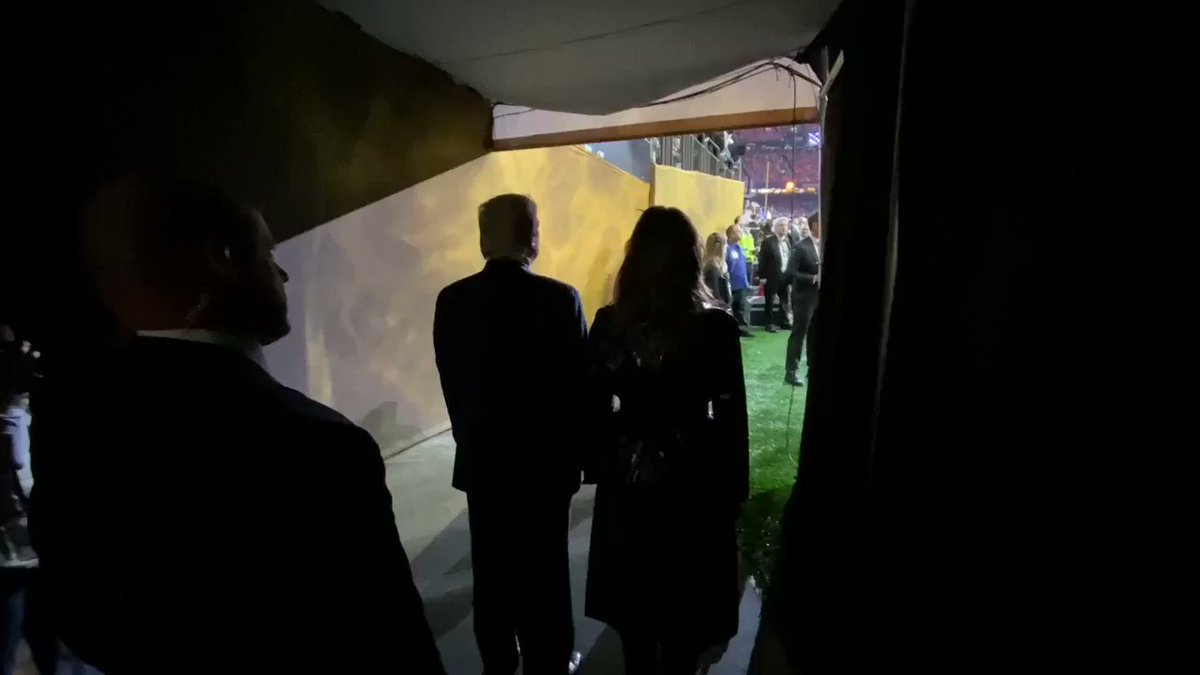 President Trump and First Lady Melania attend the #NationalChampionship at the Mercedes-Benz Superdome in New Orleans, Louisiana....