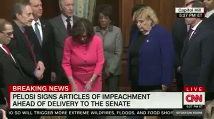 """No surprise...Speaker Pelosi just held a celebratory signing ceremony handing out souvenir impeachment pens.  The truth comes out.  This isn't """"somber"""" or """"serious"""" for @HouseDemocrats. This has been partisan since day one."""