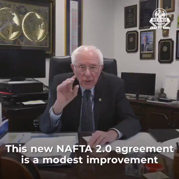 Bernie Sanders admits USMCA is better than NAFTA, but still refused to vote for it, prioritizing radical environmentalists over America's workers  Reminder, USMCA will:  ▶️Create 176,000 new U.S. jobs ▶️Add $68 billion to our economy ▶️Boost exports for farmers and manufacturers
